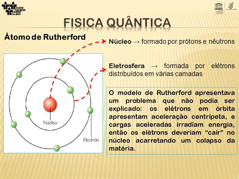 Núcleo → formado por prótons e nêutrons