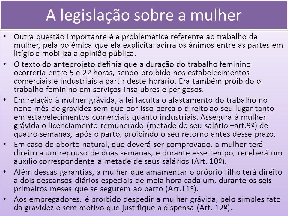 A legislação sobre a mulher