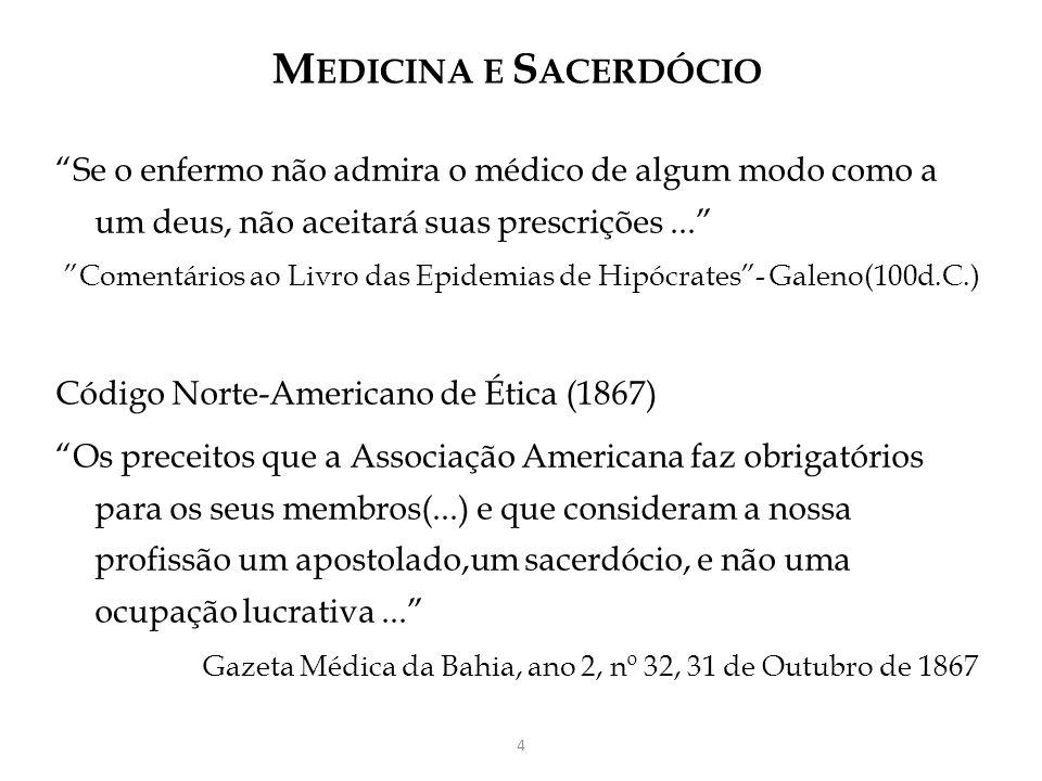 MEDICINA E SACERDÓCIO Se o enfermo não admira o médico de algum modo como a um deus, não aceitará suas prescrições ...