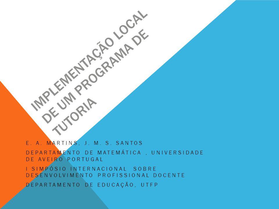 Implementação Local de um Programa de Tutoria