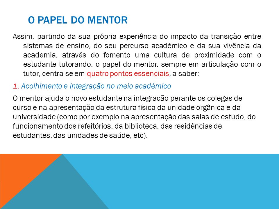 O papel do Mentor