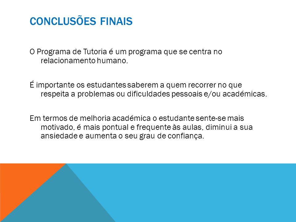 Conclusões Finais O Programa de Tutoria é um programa que se centra no relacionamento humano.
