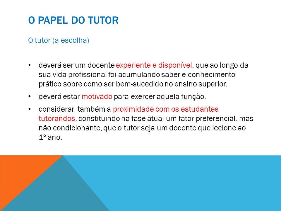 O Papel do Tutor O tutor (a escolha)