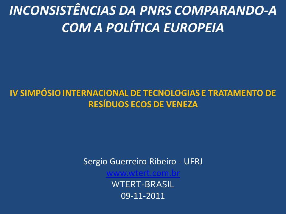 INCONSISTÊNCIAS DA PNRS COMPARANDO-A COM A POLÍTICA EUROPEIA