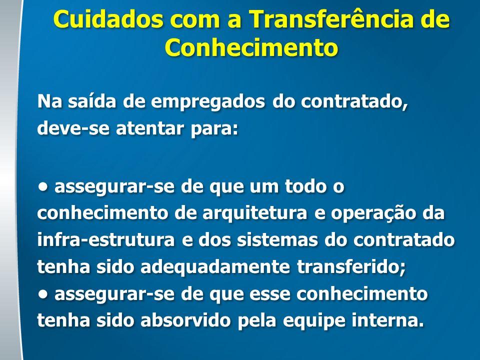 Cuidados com a Transferência de Conhecimento