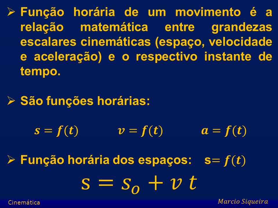 Função horária de um movimento é a relação matemática entre grandezas escalares cinemáticas (espaço, velocidade e aceleração) e o respectivo instante de tempo.