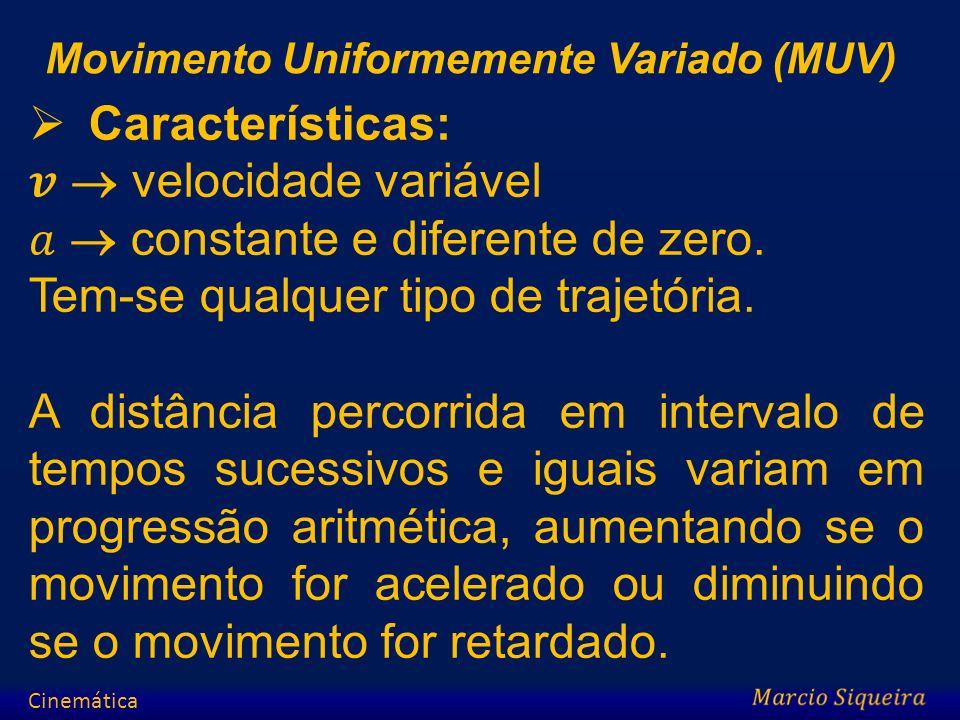 𝒗  velocidade variável 𝑎  constante e diferente de zero.