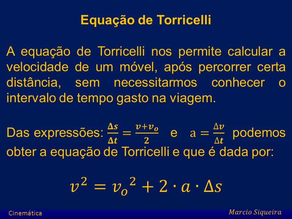 𝑣 2 = 𝑣 𝑜 2 +2∙𝑎∙∆𝑠 Equação de Torricelli