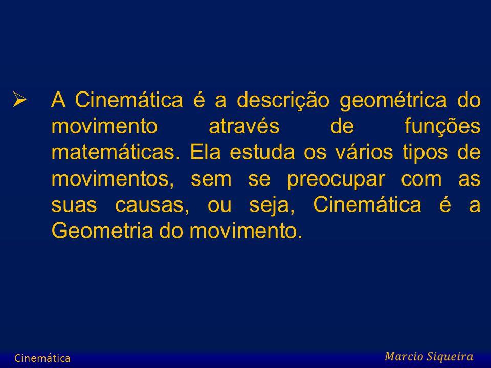 A Cinemática é a descrição geométrica do movimento através de funções matemáticas. Ela estuda os vários tipos de movimentos, sem se preocupar com as suas causas, ou seja, Cinemática é a Geometria do movimento.