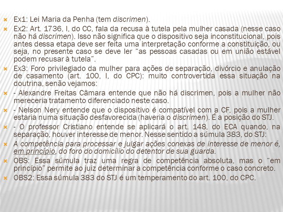 Ex1: Lei Maria da Penha (tem discrimen).