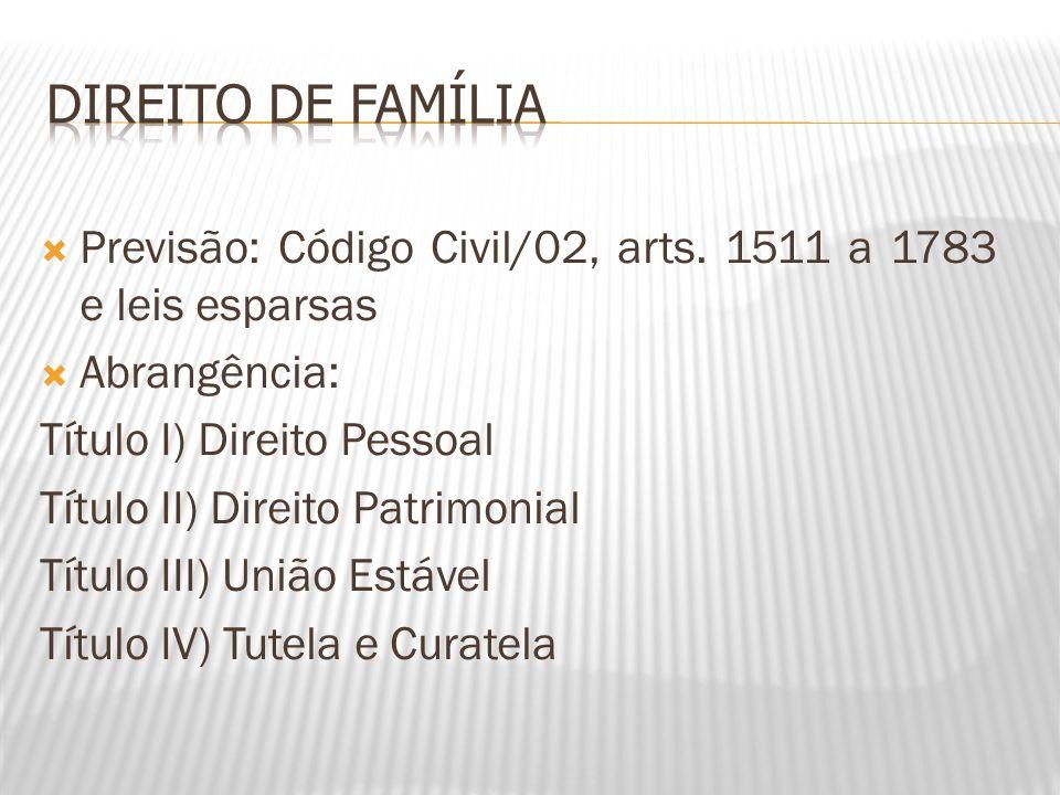 Direito de Família Previsão: Código Civil/02, arts. 1511 a 1783 e leis esparsas. Abrangência: Título I) Direito Pessoal.