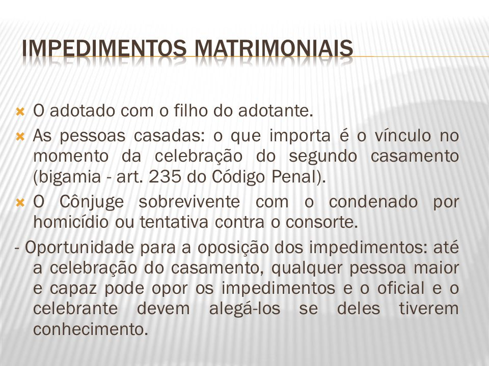 Impedimentos matrimoniais