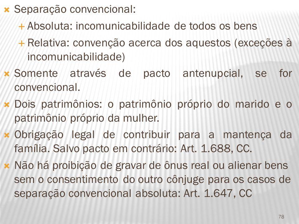 Separação convencional: Absoluta: incomunicabilidade de todos os bens