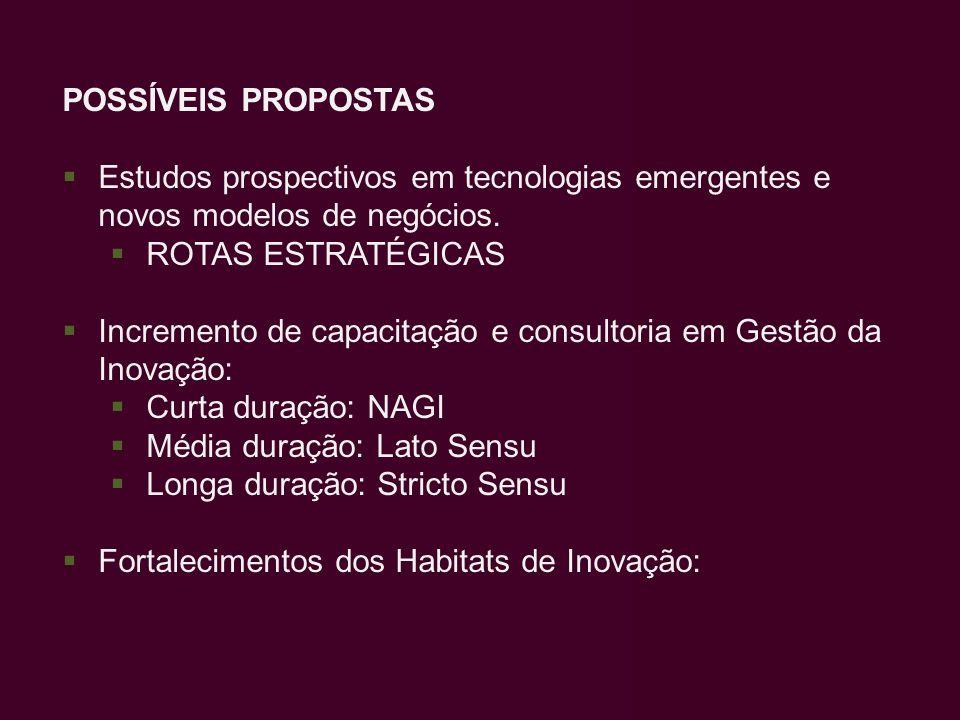POSSÍVEIS PROPOSTAS Estudos prospectivos em tecnologias emergentes e novos modelos de negócios. ROTAS ESTRATÉGICAS.