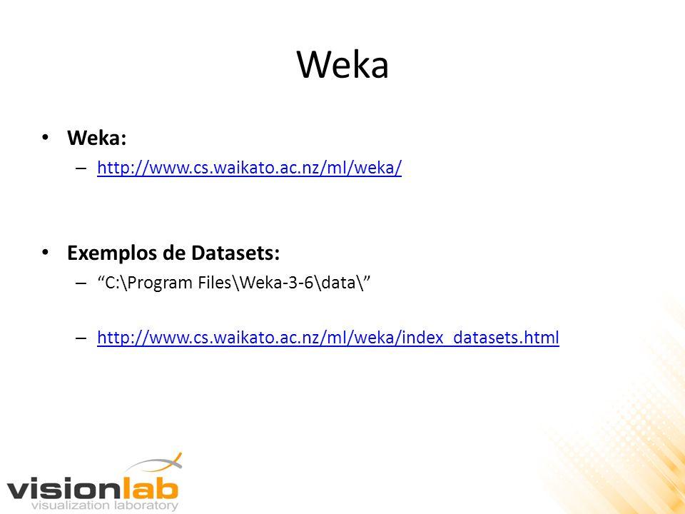 Weka Weka: Exemplos de Datasets: http://www.cs.waikato.ac.nz/ml/weka/