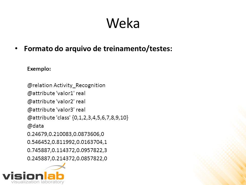 Weka Formato do arquivo de treinamento/testes: Exemplo: