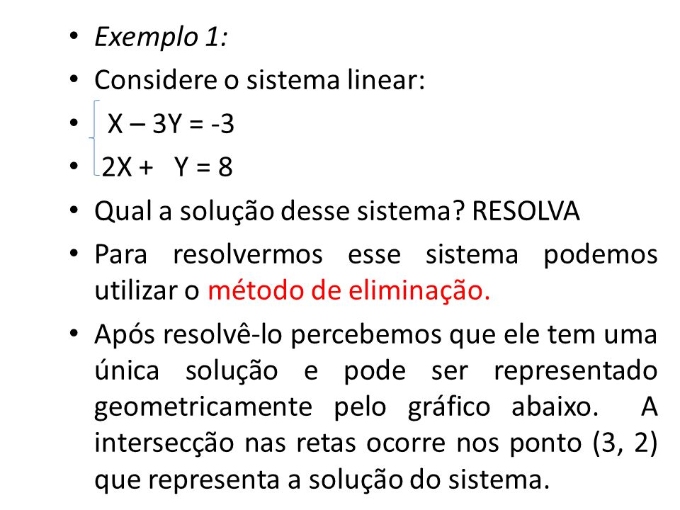 Exemplo 1: Considere o sistema linear: X – 3Y = -3. 2X + Y = 8. Qual a solução desse sistema RESOLVA.