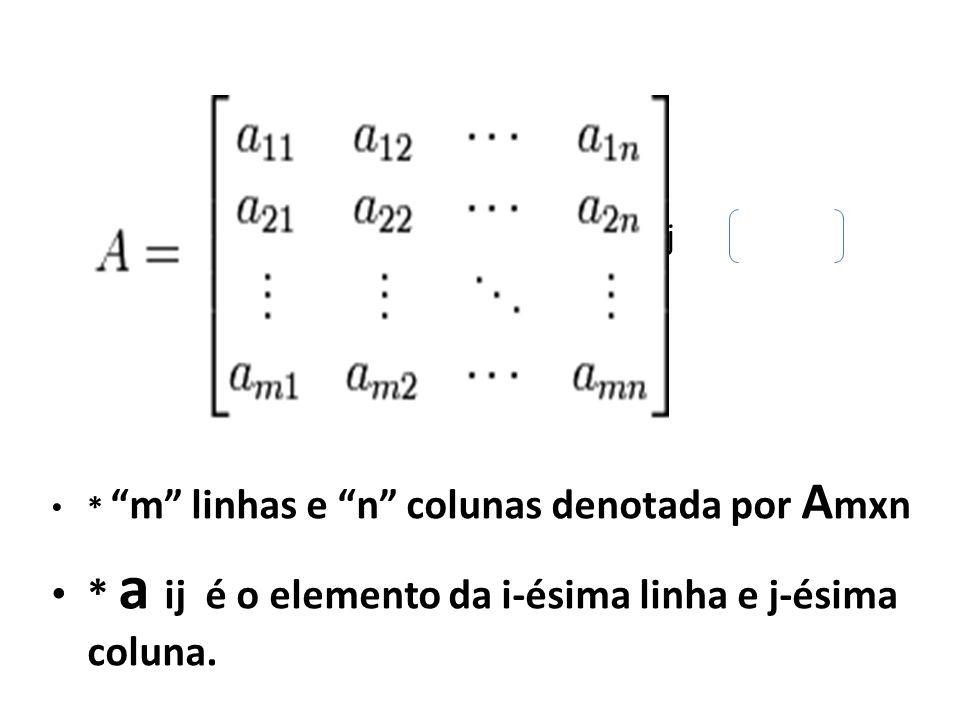 * a ij é o elemento da i-ésima linha e j-ésima coluna.