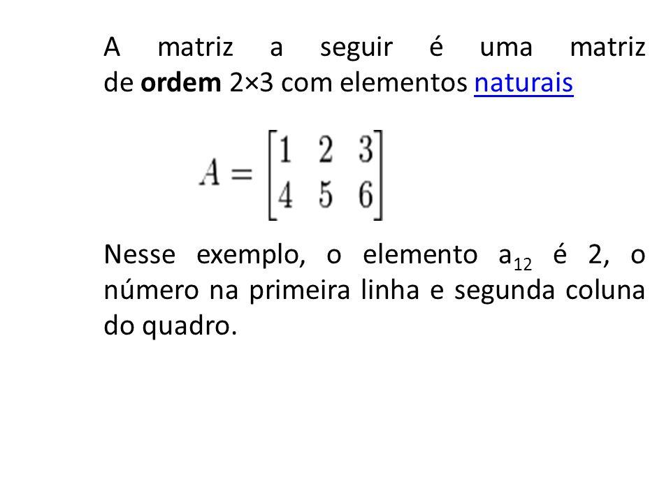 A matriz a seguir é uma matriz de ordem 2×3 com elementos naturais Nesse exemplo, o elemento a12 é 2, o número na primeira linha e segunda coluna do quadro.
