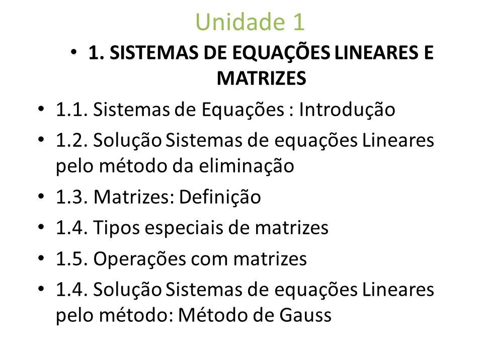 1. SISTEMAS DE EQUAÇÕES LINEARES E MATRIZES