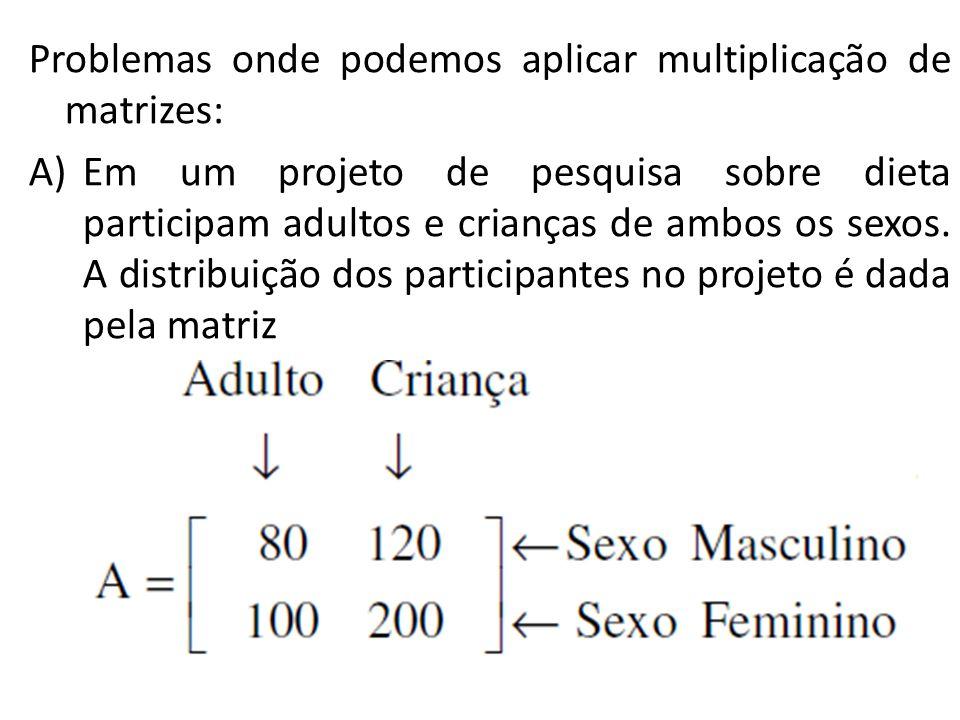 Problemas onde podemos aplicar multiplicação de matrizes: