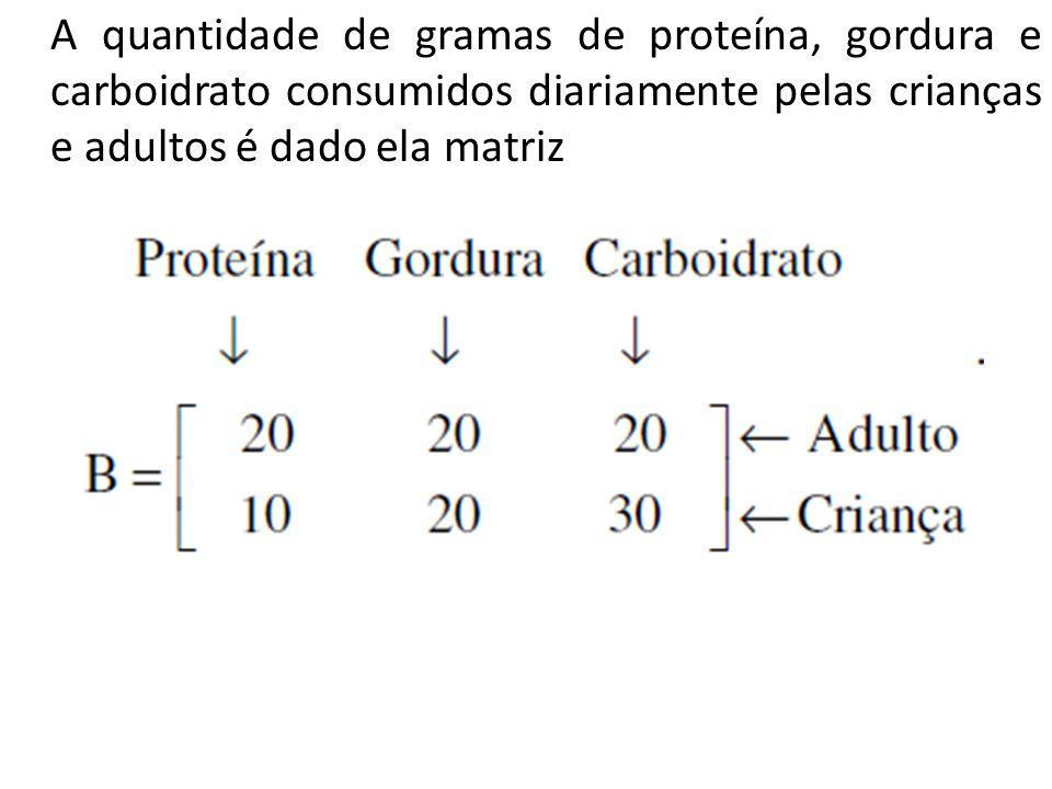 A quantidade de gramas de proteína, gordura e carboidrato consumidos diariamente pelas crianças e adultos é dado ela matriz