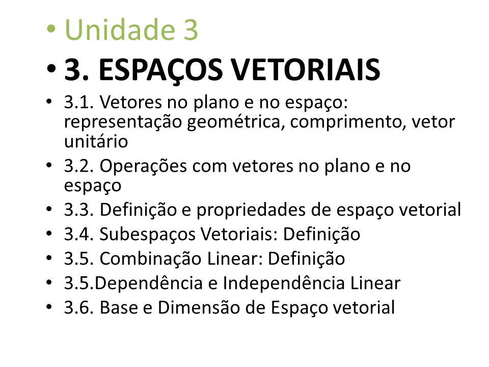 3. ESPAÇOS VETORIAIS Unidade 3