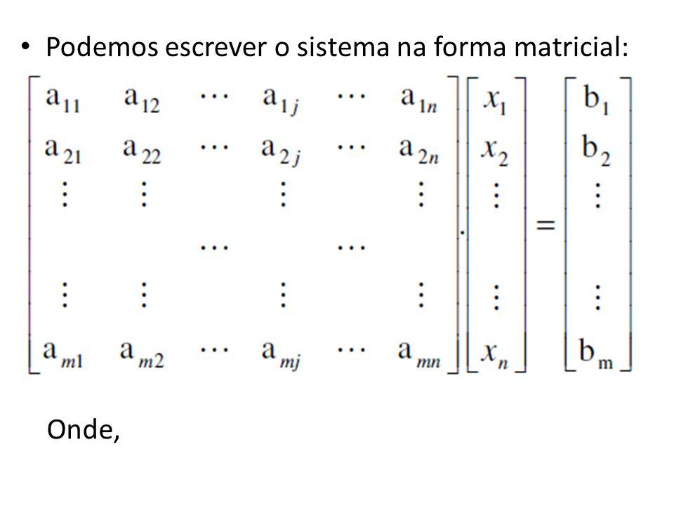 Podemos escrever o sistema na forma matricial: