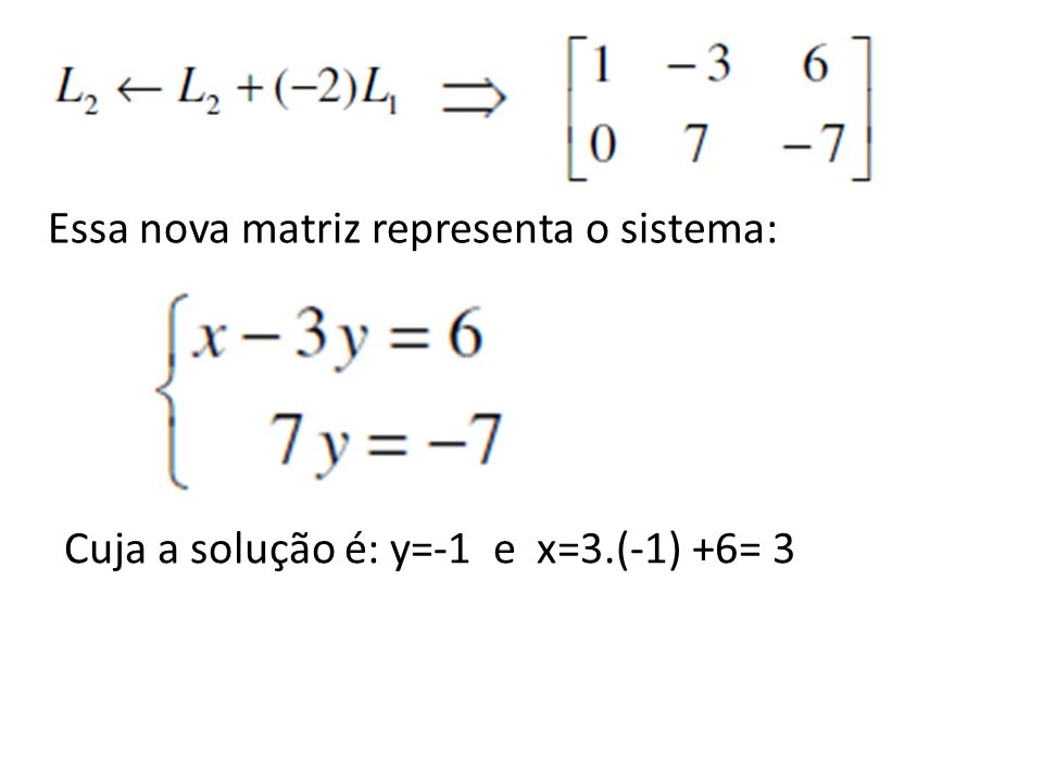 Essa nova matriz representa o sistema: