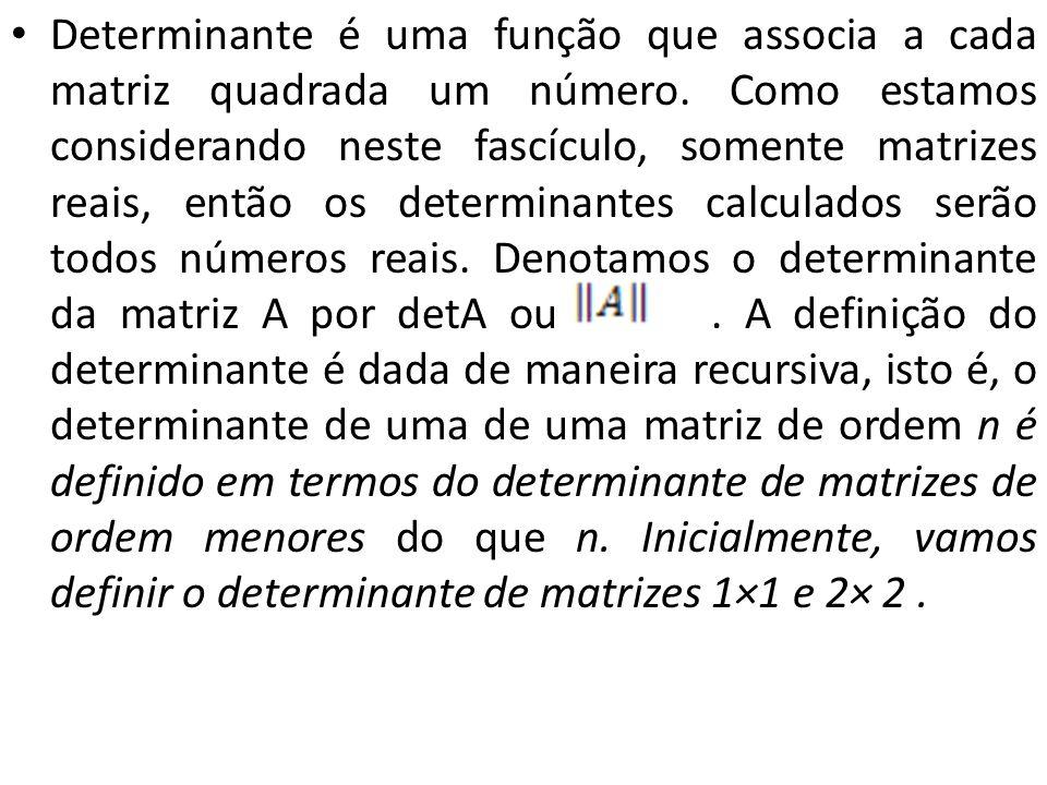 Determinante é uma função que associa a cada matriz quadrada um número