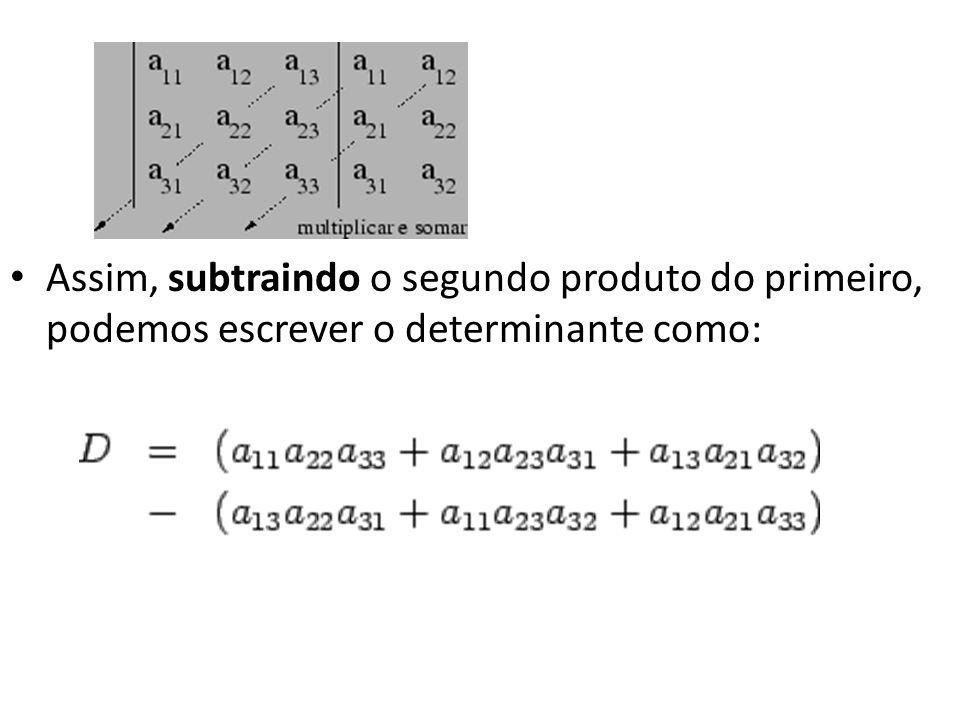 Assim, subtraindo o segundo produto do primeiro, podemos escrever o determinante como: