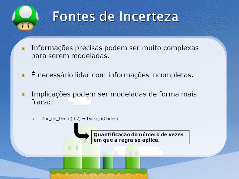 Fontes de Incerteza Informações precisas podem ser muito complexas para serem modeladas. É necessário lidar com informações incompletas.
