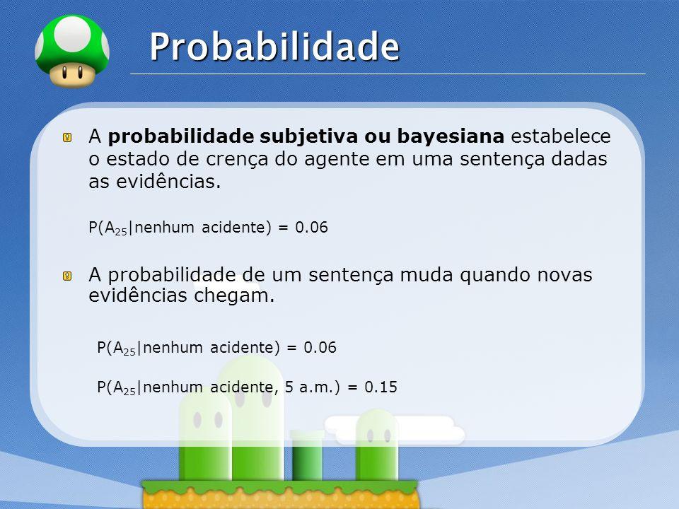 Probabilidade A probabilidade subjetiva ou bayesiana estabelece o estado de crença do agente em uma sentença dadas as evidências.