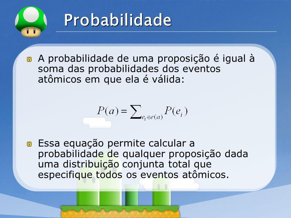 Probabilidade A probabilidade de uma proposição é igual à soma das probabilidades dos eventos atômicos em que ela é válida: