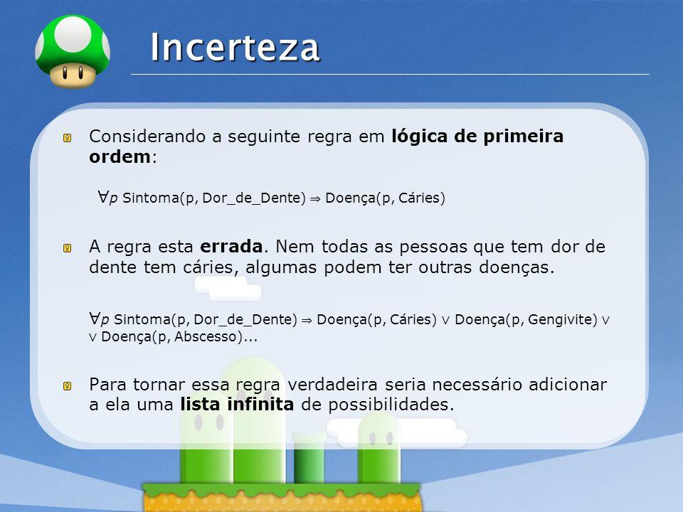 Incerteza ∀p Sintoma(p, Dor_de_Dente) ⇒ Doença(p, Cáries)