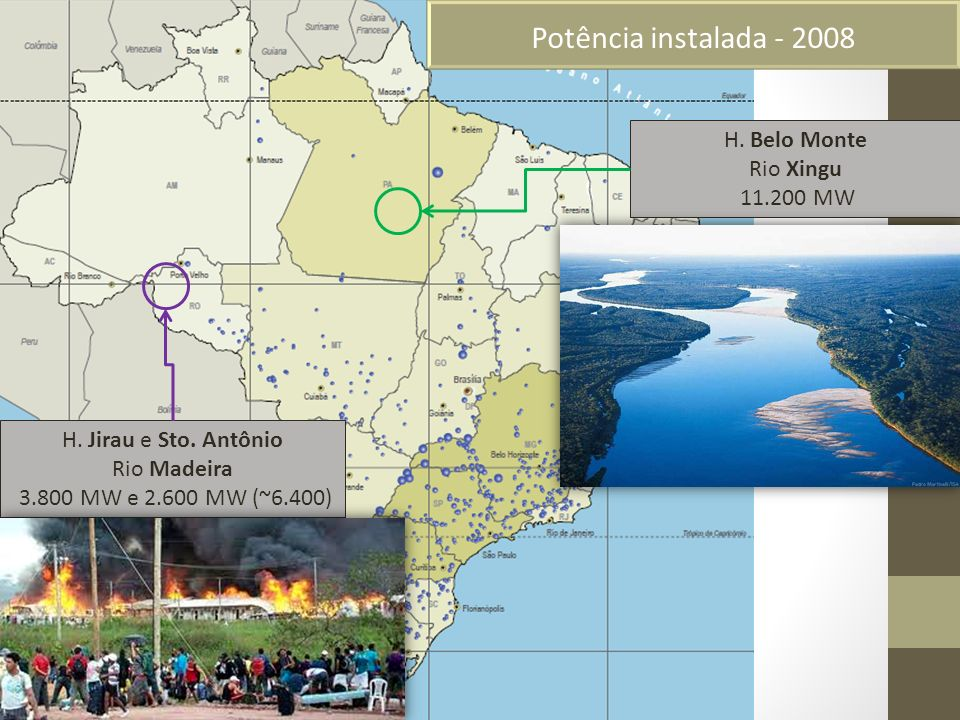 Potência instalada - 2008 H. Belo Monte Rio Xingu 11.200 MW