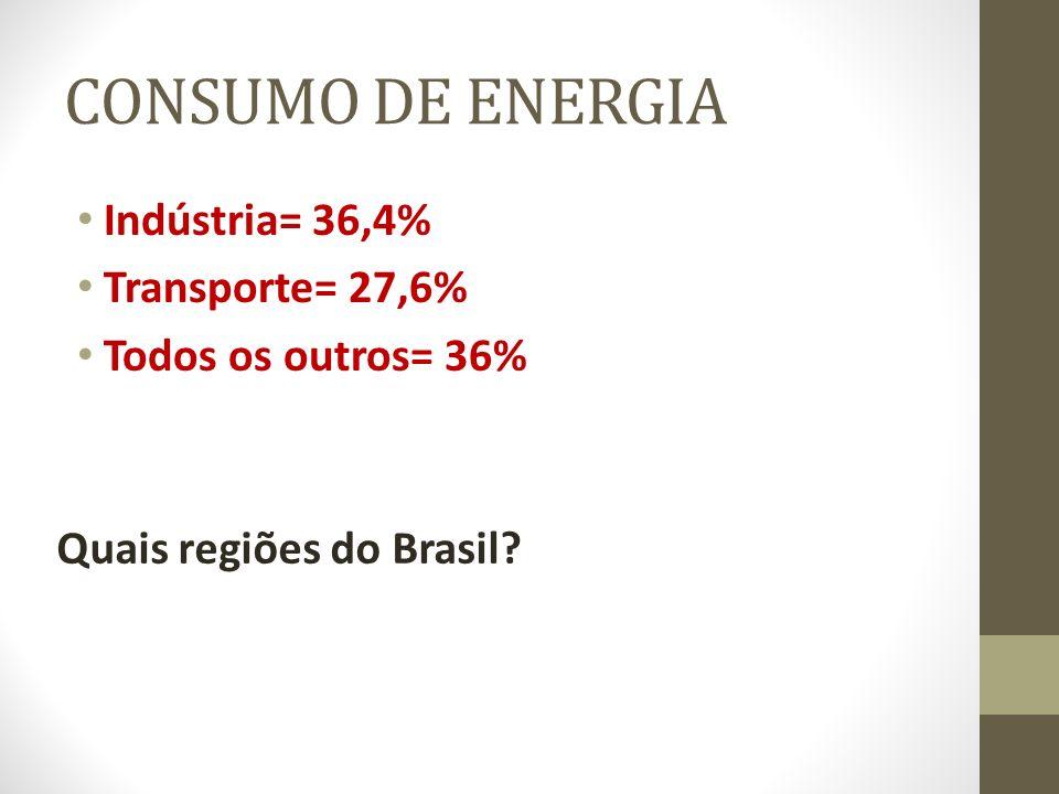 CONSUMO DE ENERGIA Indústria= 36,4% Transporte= 27,6%