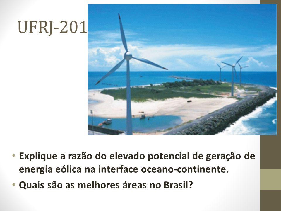 UFRJ-2011 Explique a razão do elevado potencial de geração de energia eólica na interface oceano-continente.