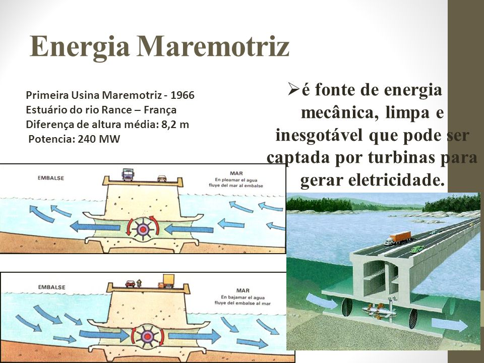 Energia Maremotriz é fonte de energia mecânica, limpa e inesgotável que pode ser captada por turbinas para gerar eletricidade.