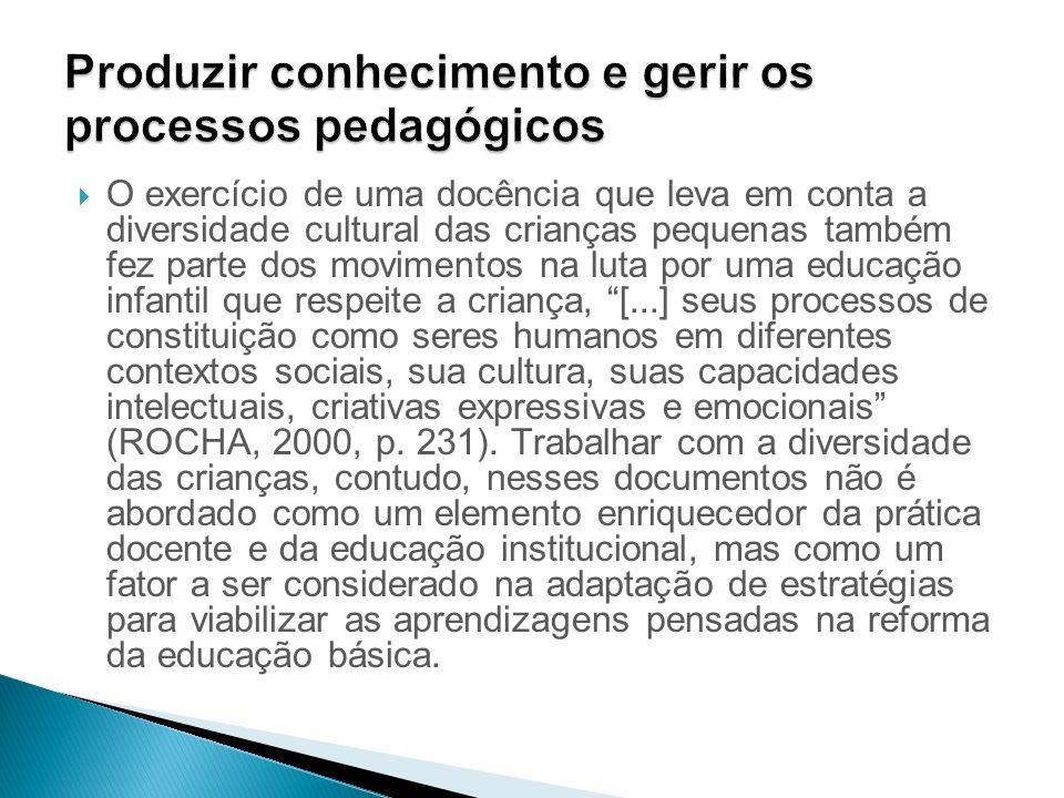 Produzir conhecimento e gerir os processos pedagógicos