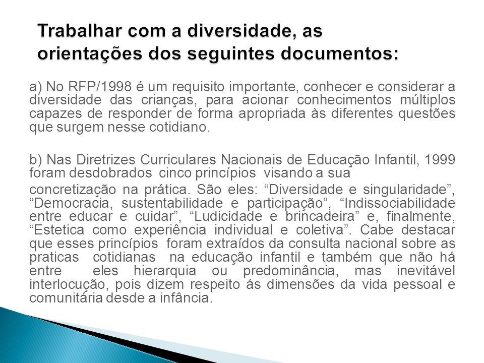 Trabalhar com a diversidade, as orientações dos seguintes documentos: