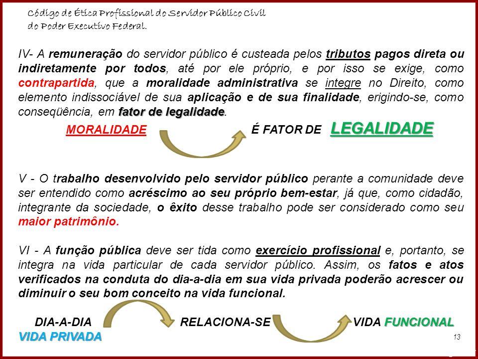 MORALIDADE É FATOR DE LEGALIDADE