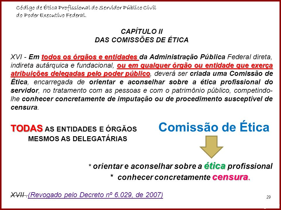 CAPÍTULO II DAS COMISSÕES DE ÉTICA
