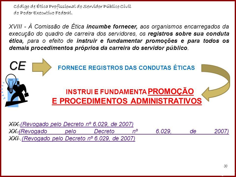 CE FORNECE REGISTROS DAS CONDUTAS ÉTICAS