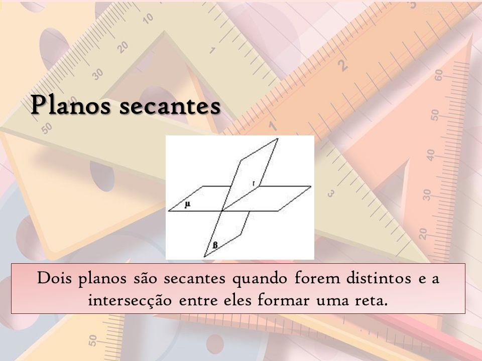Planos secantes Dois planos são secantes quando forem distintos e a intersecção entre eles formar uma reta.