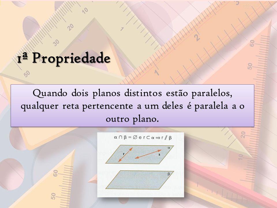 1ª Propriedade Quando dois planos distintos estão paralelos, qualquer reta pertencente a um deles é paralela a o outro plano.