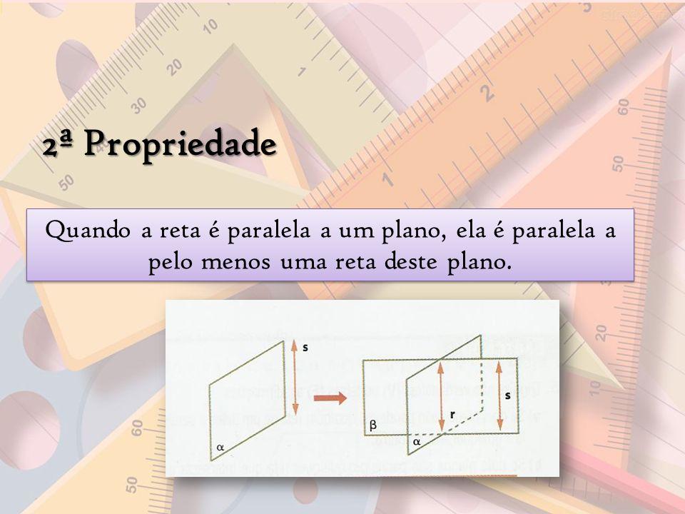 2ª Propriedade Quando a reta é paralela a um plano, ela é paralela a pelo menos uma reta deste plano.