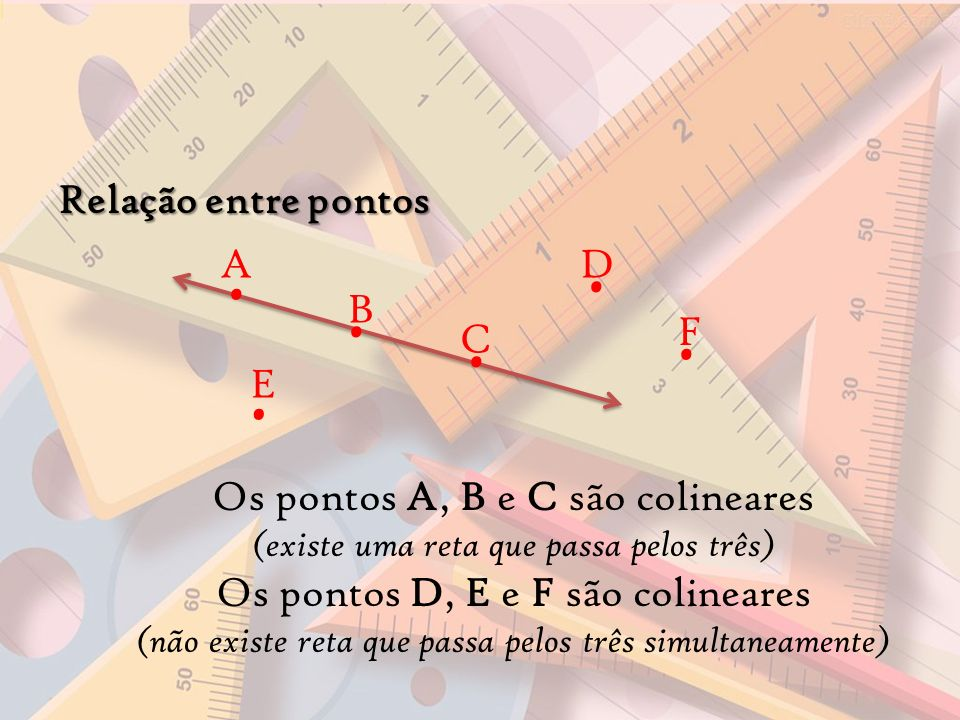 Os pontos A, B e C são colineares Os pontos D, E e F são colineares