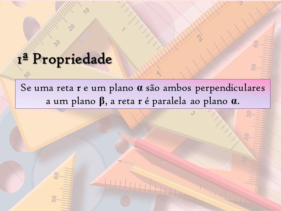 1ª Propriedade Se uma reta r e um plano α são ambos perpendiculares a um plano β, a reta r é paralela ao plano α.