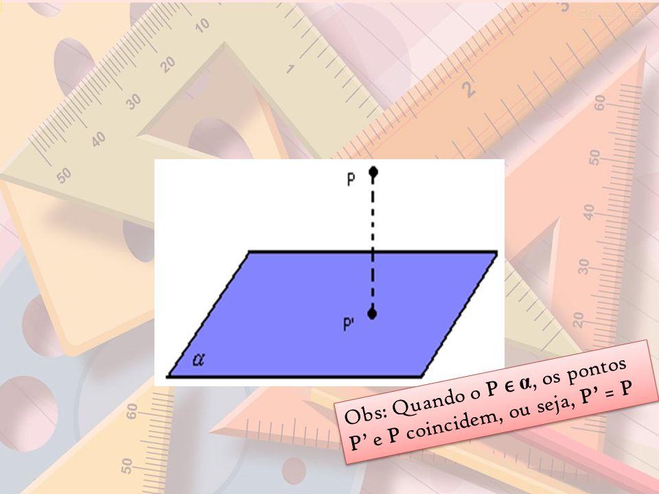 Obs: Quando o P ϵ α, os pontos P' e P coincidem, ou seja, P' = P